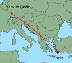 Map of route from Karlsruhe-Baden to Rhodos