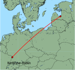 Map of route from Riga to Karlsruhe-Baden