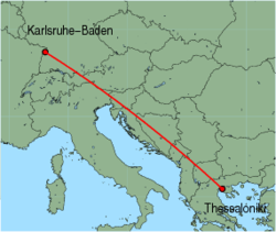 Map of route from Karlsruhe-Baden to Thessaloniki