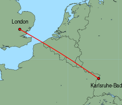 Map of route from London(Stansted) to Karlsruhe-Baden