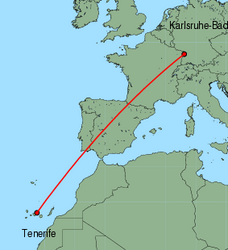 Map of route from Tenerife (Sur) to Karlsruhe-Baden