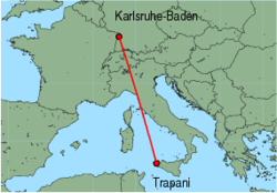 Map of route from Trapani to Karlsruhe-Baden
