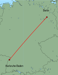 Map of route from Karlsruhe-Baden to Berlin(Tegel)