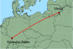 Map of route from Vilnius to Karlsruhe-Baden