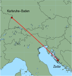 Map of route from Zadar to Karlsruhe-Baden