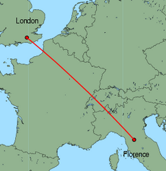 Map of route from Florence to London (Gatwick)