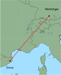 Map of route from Girona to Memmingen
