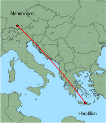 Map of route from Memmingen to Heraklion