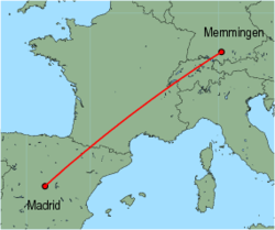 Map of route from Memmingen to Madrid