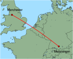 Map of route from Manchester to Memmingen