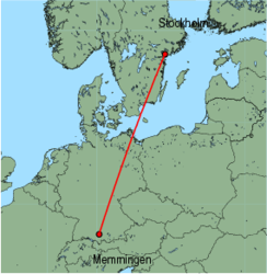 Map of route from Stockholm (Skavsta) to Memmingen