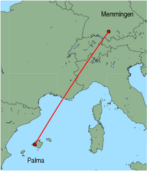 Map of route from Palma to Memmingen