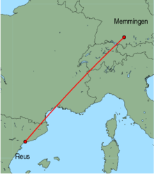Map of route from Reus to Memmingen