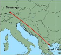 Map of route from Memmingen to Thessaloniki