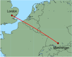 Map of route from London (Stansted) to Memmingen