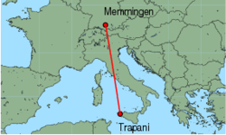 Map of route from Trapani to Memmingen
