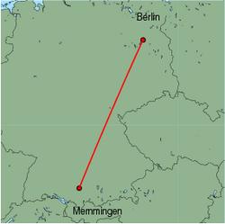 Map of route from Memmingen to Berlin(Tegel)