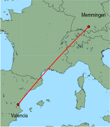 Map of route from Valencia to Memmingen