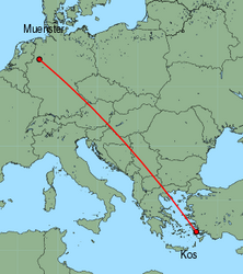 Map of route from Muenster to Kos