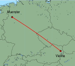 Map of route from Vienna to Muenster