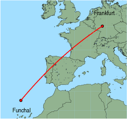 Map of route from Funchal to Frankfurt&nbsp;(International)