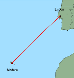 Map of route from Funchal to Lisbon