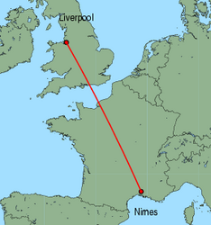 Map of route from Liverpool to Nimes