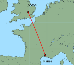 Map of route from London(Luton) to Nimes