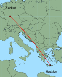 Map of route from Frankfurt (International) to Heraklion