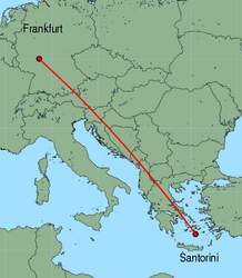 Map of route from Santorini to Frankfurt (International)