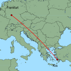 Map of route from Frankfurt(International) to Kos