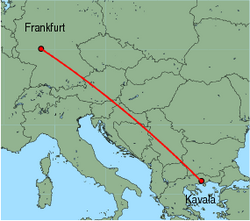 Map of route from Frankfurt (International) to Kavala