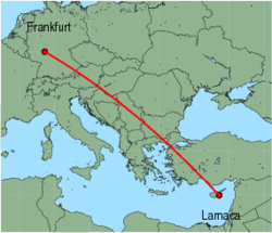 Map of route from Larnaca to Frankfurt(International)