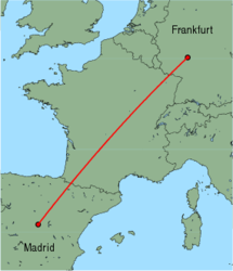 Map of route from Frankfurt (International) to Madrid