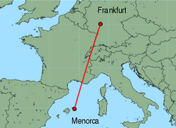 Map of route from Mahon to Frankfurt(International)