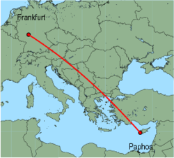 Map of route from Frankfurt (International) to Paphos