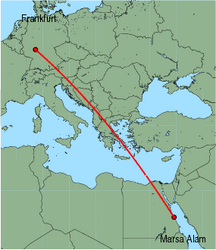 Map of route from Marsa Alam to Frankfurt&nbsp;(International)