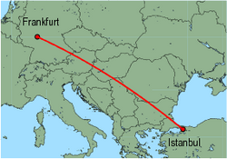 Map of route from Frankfurt (International) to Istanbul (Sabiha)