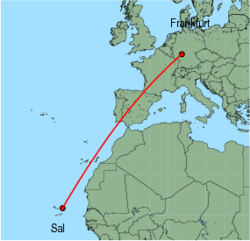 Map of route from Frankfurt(International) to Sal
