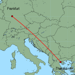 Map of route from Thessaloniki to Frankfurt&nbsp;(International)