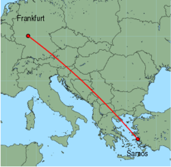 Map of route from Frankfurt(International) to Samos