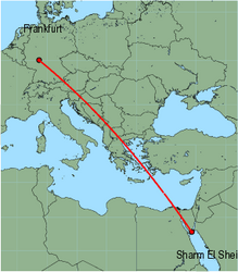 Map of route from Frankfurt (International) to Sharm El Sheikh