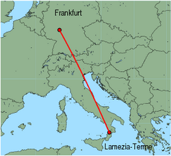 Map of route from Lamezia-Terme to Frankfurt (International)