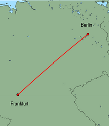Map of route from Frankfurt(International) to Berlin(Tegel)