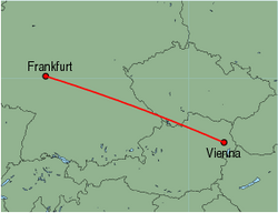 Map of route from Vienna to Frankfurt (International)