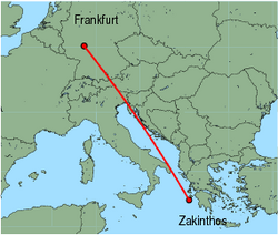 Map of route from Zakinthos to Frankfurt(International)
