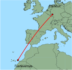 Map of route from Fuerteventura to Frankfurt (Hahn)