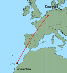 Map of route from Fuerteventura to Weeze