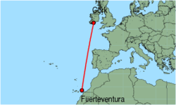 Map of route from Fuerteventura to Cork