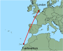 Map of route from Fuerteventura to London (Stansted)